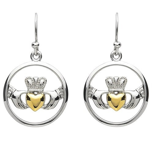 PlatinumWare Round Claddagh Earrings