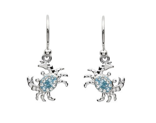 Sterling Silver Blue Swarovski Crystal Drop Crab Earrings
