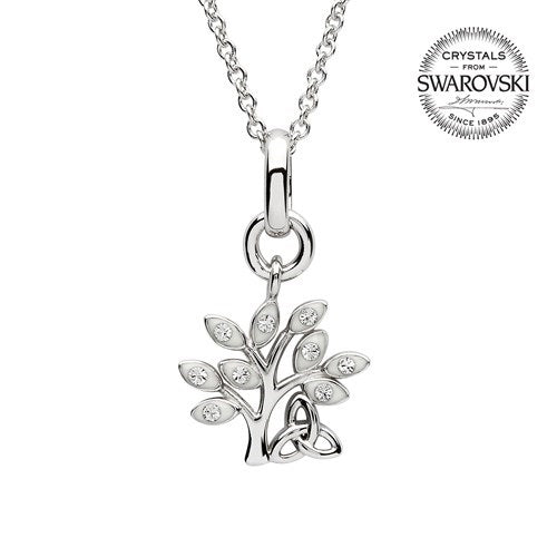 Silver Crystal Set Tree Of Life Pendant