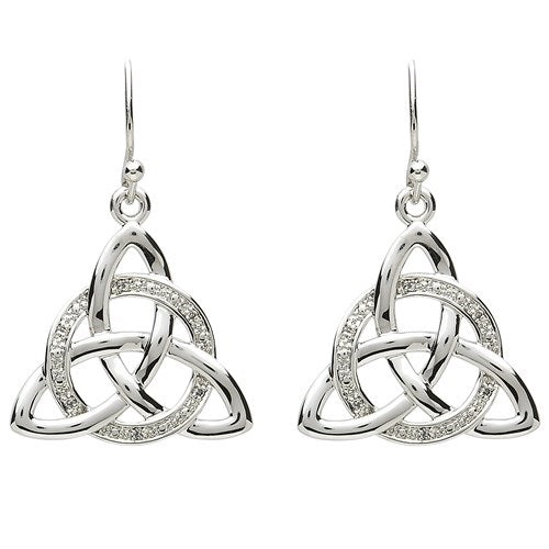 PlatinumWare Trinity Knot White Stone Earrings
