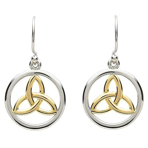 PlatinumWare Gold Trinity Knot Earrings