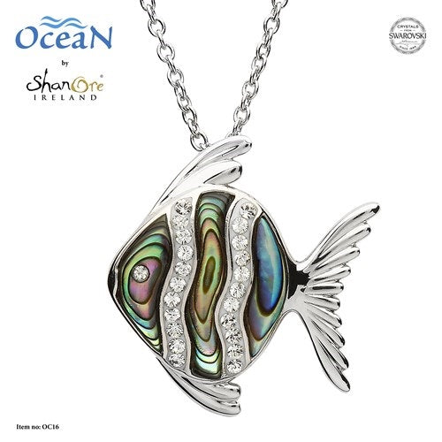 Fish Necklace with Abalone and White Swarovski Crystals