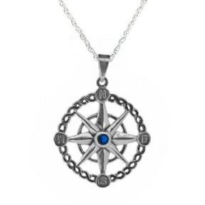 Outlander Inspired Silver Compass Pendant