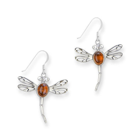 Outlander Inspired Dragonfly & Amber Earrings