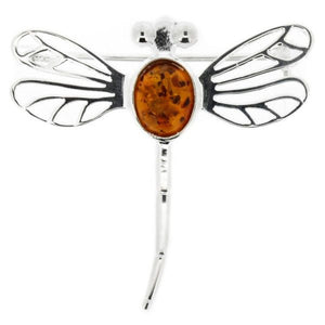 Outlander Inspired Dragonfly Brooch with Amber