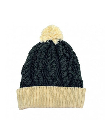 Bottle Green Aran Knit Pom Pom Hat