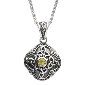 "Large Peridot Celtic Necklace 20"" Chain"