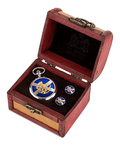Saltire and Thistle Mechanical Pocket Watch and Cufflinks in Trunk