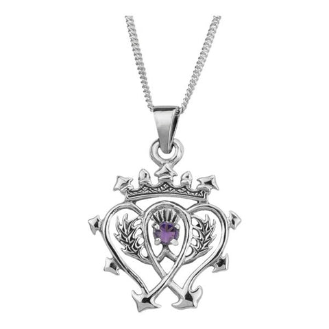 Scottish Luckenbooth Pendant with Amethyst Stone