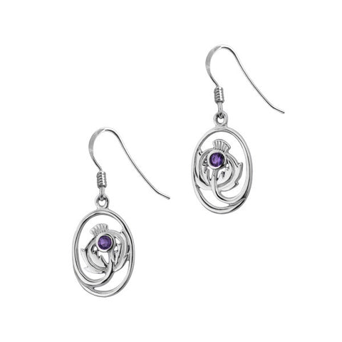 Scottish Thistle Drop Earrings with Amethyst Stone