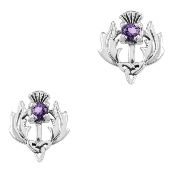 Scottish Thistle Earrings w/Amethyst Coloured Stone