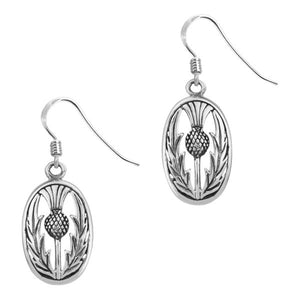 Scottish Thistle Oval Drop Earrings
