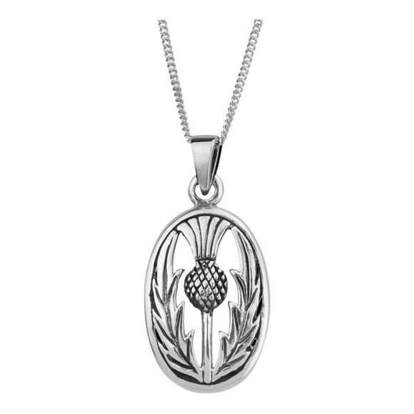 Scottish Thistle Oval Pendant