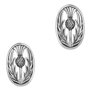 Scottish Thistle Oval Stud Earrings