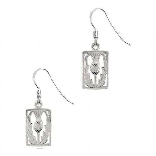 Scottish Thistle Silver Rectangle Drop Earrings