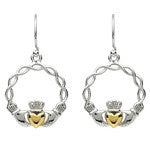 PlatinumWare Wavy Frame Gold Heart Claddagh Earrings