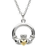 PlatinumWare Gold Heart Claddagh Pendant