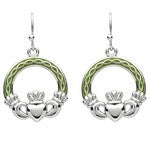 PlatinumWare Green Enamel Claddagh Earrings