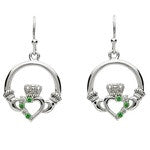 PlatinumWare Claddagh Emerald & White Stone Earrings