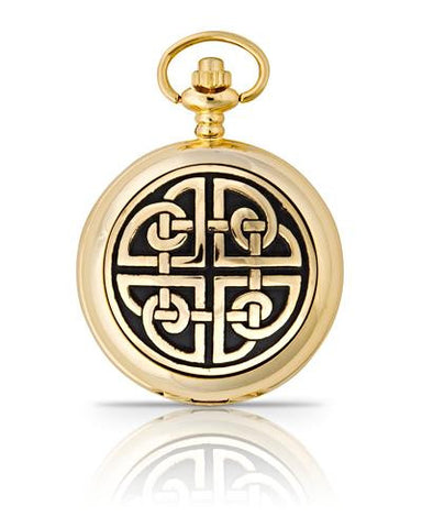 Gold Square Knot Quartz Pocket Watch