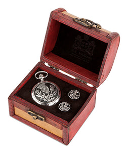 Thistle Quartz Pocket Watch and Cufflinks in Trunk