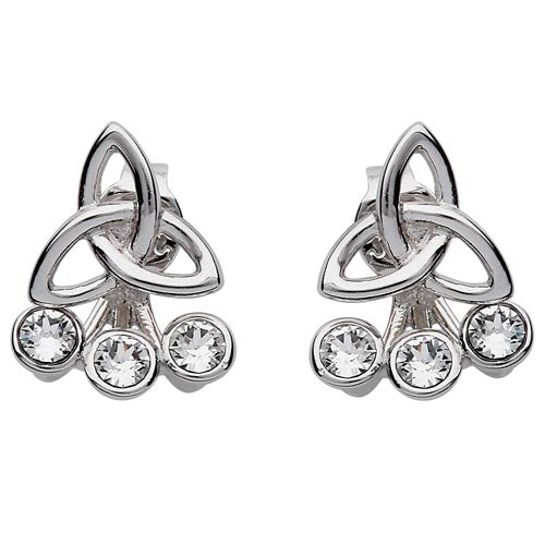 Silver Celtic Trinity Knot Earrings Adorned With Swarovski Crystal