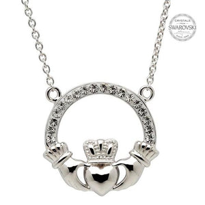 Claddagh Necklace Encrusted With Swarovski Crystals