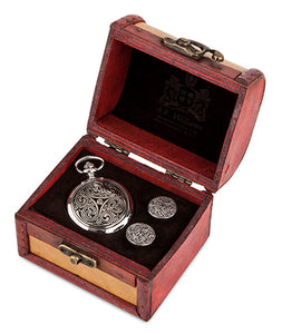 Triple Swirl Quartz Pocket Watch and Cufflinks in Trunk