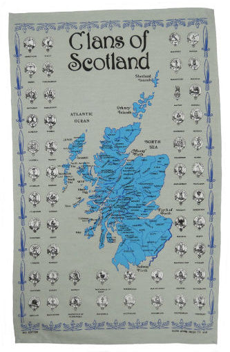 Clans of Scotland Tea Towel