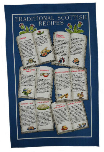 Scottish Recipes Tea Towel