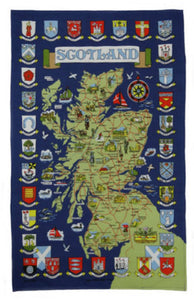Town Crest Map Tea Towel
