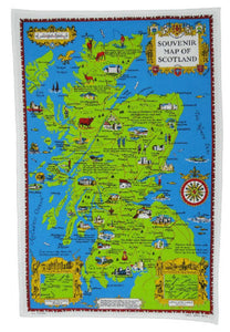 Souvenir Map of Scotland Tea Towel