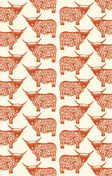 Highland Cow Repeat Tea Towel