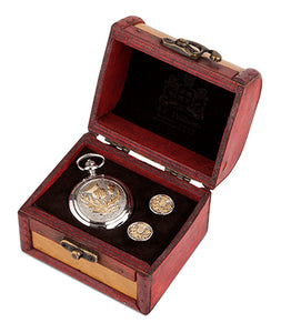 Two Tone Thistle Quartz Pocket Watch and Cufflinks in Trunk