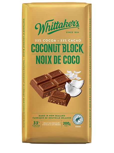 Whittaker's Coconut Block Milk Chocolate 200g
