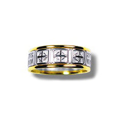 Silver and 10k Yellow Gold Narrow Contemporary Celtic Cross Band