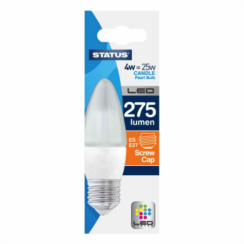 4 Watt = 25 Watt 275 Lumens ES/E27 Candle Shape LED Bulbs