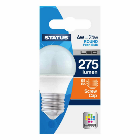 4 Watt = 25 Watt 275 Lumens ES/E27 Round LED Bulbs