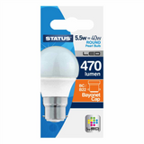 5.5 Watt = 40 Watt 470 Lumens BC/B22 Round LED Bulbs