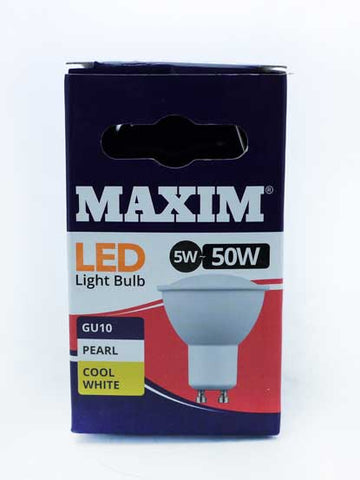 Maxim GU10 LED 5 Watt = 50 Watt 345 Lumens Cool White LED Bulbs (10 PACK)