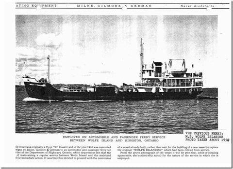 "Photo: ""Employed on automobile and passenger ferry service between Wolfe Island and Kingston, Ontario"". M.S. Wolfe Islander, built in Collingwood, Ontario, 1946. Brian Johnson Collection With permission from Brian Johnson http://tilife.org/BackIssues/Archive/tabid/393/articleType/ArticleView/articleId/250/The-Wolfe-Islander-is-Missing.aspx"