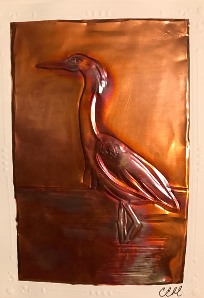 Heron Copper Card - Copper card by Cathie Hamilton - Martello Alley