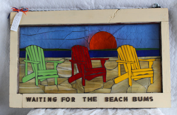 Waiting for the beach bums        26 x16 - Stained Glass Mosaic by Bonita Bell - Martello Alley