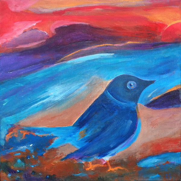 Bluebird of Happiness Print by Angella Scott - Print by Angella Scott - Martello Alley