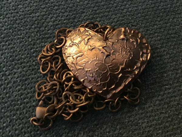 LW 009P Copper Heart - Copper Jewelry by Leslie Welfare - Martello Alley