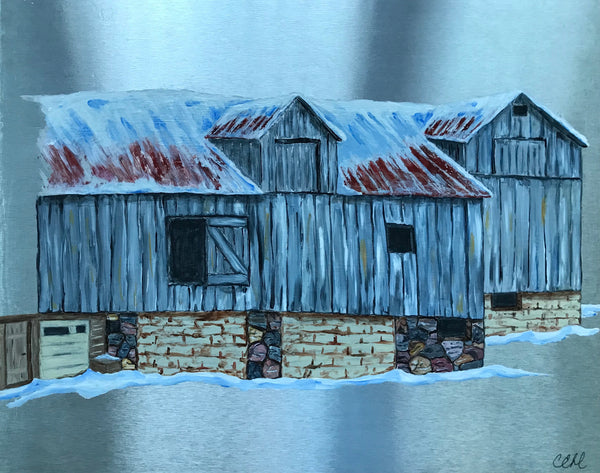 This Old Barn - acrylic on aluminum 16 x 20 by Cathie Hamilton - Martello Alley