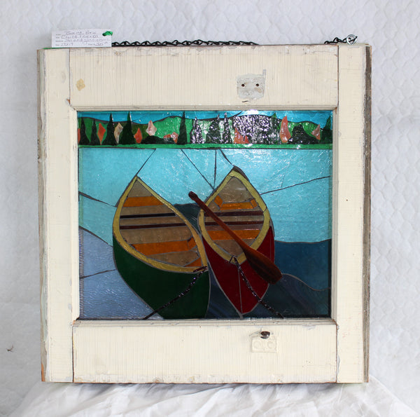 Canoe Friends     19 x 19 - Stained Glass Mosaic by Bonita Bell - Martello Alley