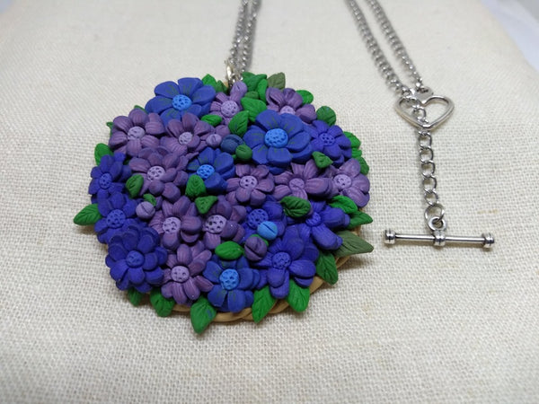 Flower Medallion (indigo) - Jewelery by Erica Young - Martello Alley