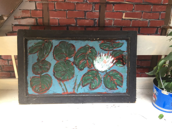 Water Lilies - on window screen - Painting by David Dossett - Martello Alley