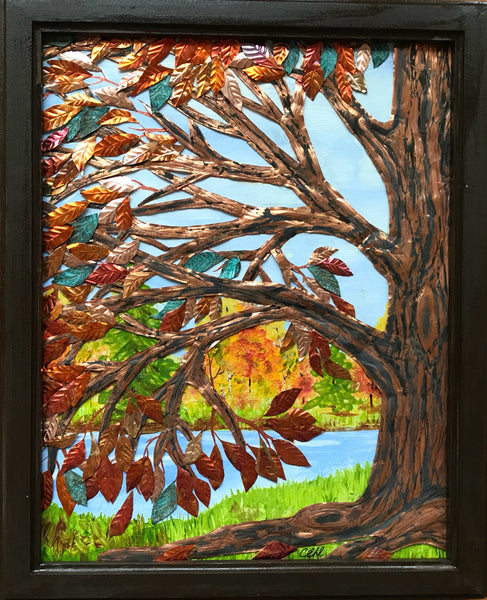 Fall Splendor - 11x14 copper & acrylic painting by Cathie Hamilton - Martello Alley